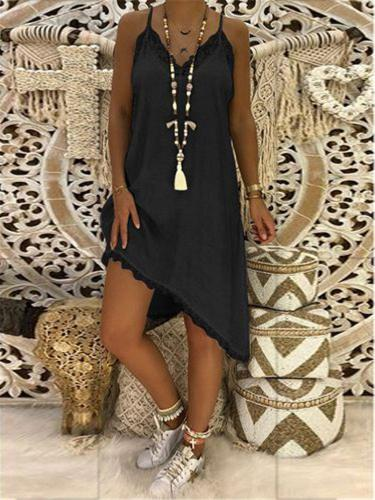 Straped Boho Guipure Lace Casual Dresses