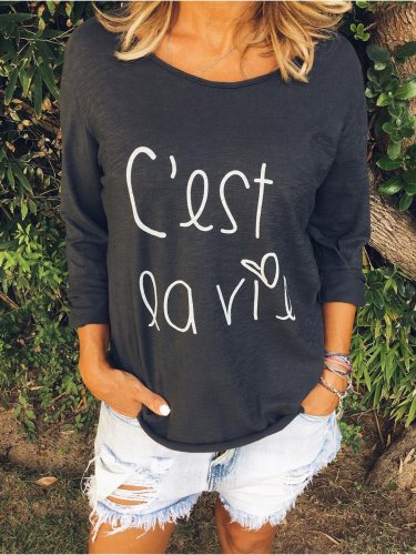 Long Sleeve Round Neck Cotton Shirts & Tops