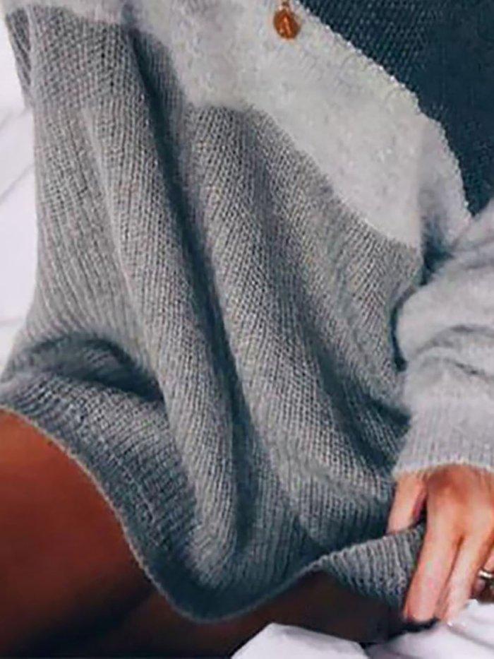 Paneled Striped Long Sleeve Crew Neck Sweater