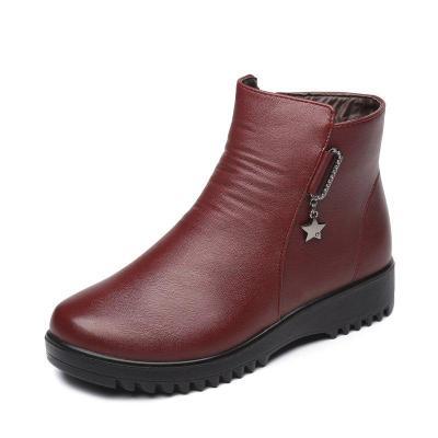 Fleece-lined Zipper Boots Women Slip-On Ankle Shoes