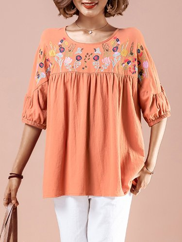 Plus Size Women Embroidered Round Neck Half Sleeve Loose Casual Cotton Shirt Tops