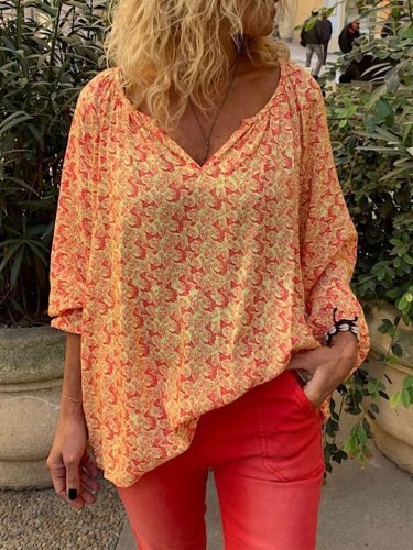 Orange Chiffon Long Sleeve Shirts & Tops