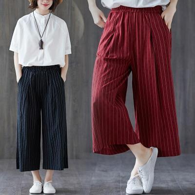 New Cotton and Linen Stripes Wide Leg Pants Women Cotton and Linen Pants