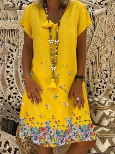 V Neck Women Dresses Shift Daily Boho Floral Dresses