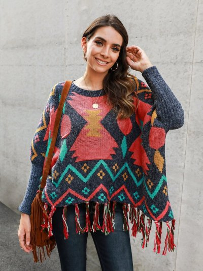 Multicolor Long Sleeve Tribal Fringed Cotton-Blend Sweaters