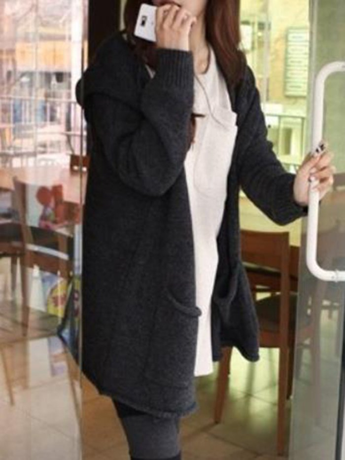 Knitted Casual Pockets Cardigan