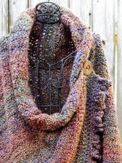 Blue Purple Shift Ombre/tie-Dye Casual Scarves & Shawls