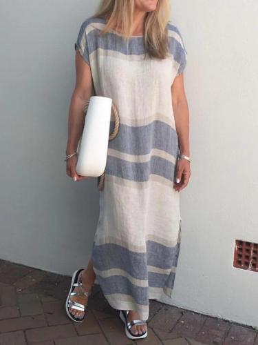 Women Striped Slit Shift Linen Dresses