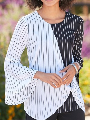 White-Black Casual Striped Cotton-Blend Shirts & Tops