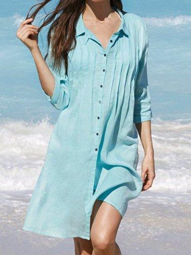 V Neck Light Blue Women Dresses Casual Cotton Dresses