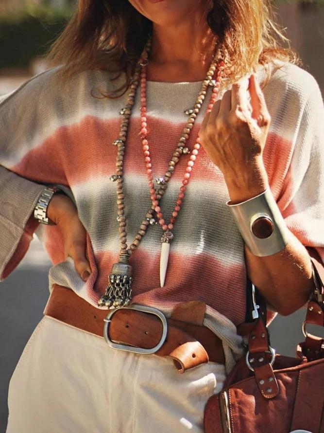 Ombre/tie-Dye Knitted Casual Sweater