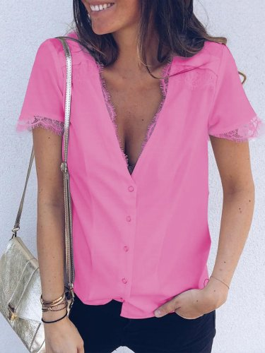 Solid V Neck Cotton Casual Shirts & Tops