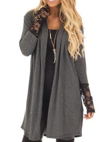 Decorative Lace  Plain  Long Sleeve Cardigan