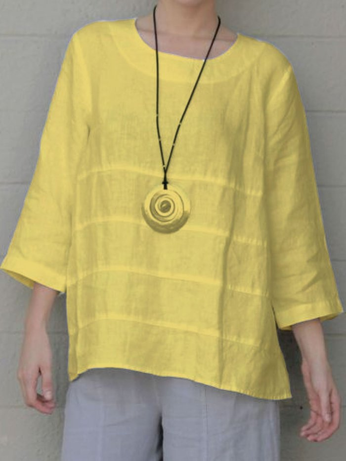 3/4 Sleeve Ruffled Casual T-Shirt