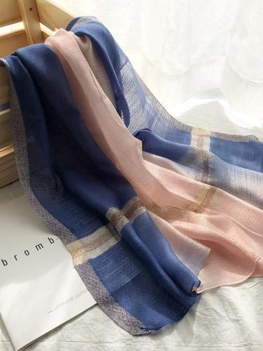 Silk Fashion Split-color Soft Scarf