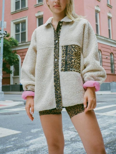Leopard Print Side Zipper Pocket Paneled Woven Lapel Holiday Coat