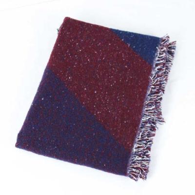 Ring Yarn Beveled Scarf Shawl Thick Bump Color Asymmetric Geometric Grid.