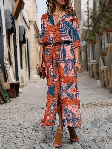 Printed Casual Holiday Maxi Dress