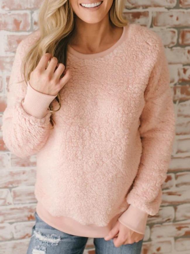 Fuzzy Crew Neck Solid Long Sleeve Cashmere Teddy Bear Sweatshirts