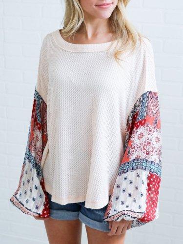 Abstract Balloon Sleeve Sweater