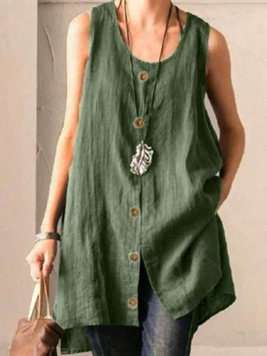 Green Buttoned Cotton-Blend Sleeveless Shirts & Tops