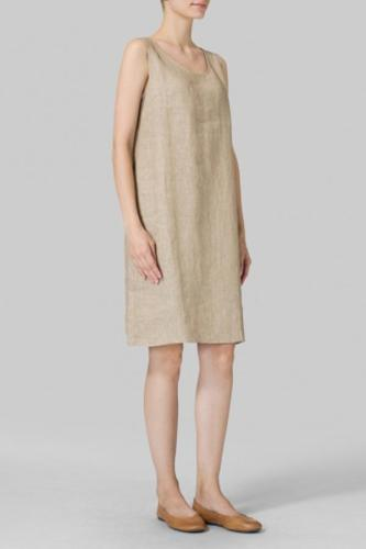 Linen Sleeveless Slip-on Dress
