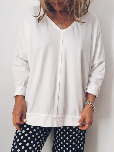 White V Neck Casual Cotton Shirts & Tops