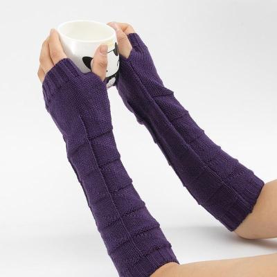 New Wool Half Finger Gloves Women Knitted Warm Fingerless Long Knit Mitten Solid
