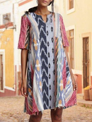 Printed Half Sleeve Striped Dresses