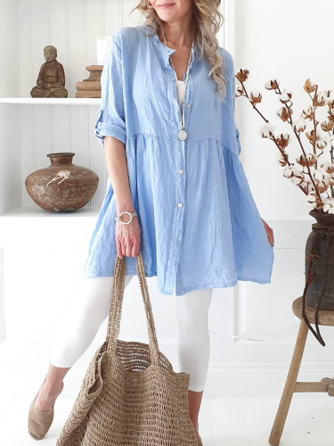 Cotton-Blend Long Sleeve Solid V Neck Shirts & Tops