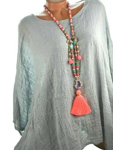 Blue Gray Long Sleeve Cotton-Blend Patchwork Shirts & Tops