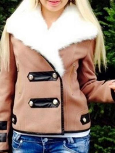 Cony Hair Zipper Winter Warm Lapel Long Sleeve Patchwork Jackets