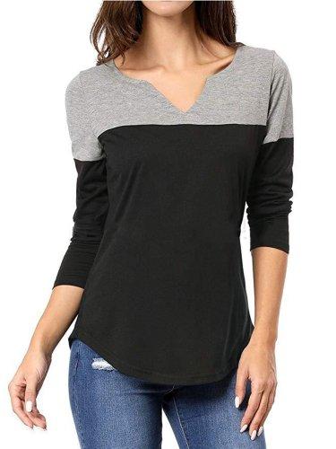 Long Sleeve Simple & Basic V-neck T-shirt