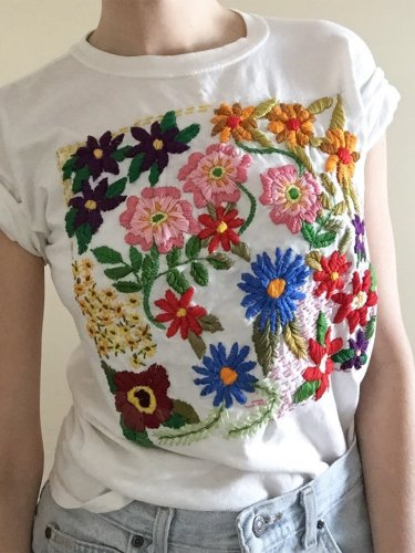 Plus Size Women Short Sleeve U-Neck Vintage Embroidered Casual Tops