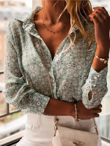 Green Floral Floral-Print Casual Shirt Collar Shirts & Tops