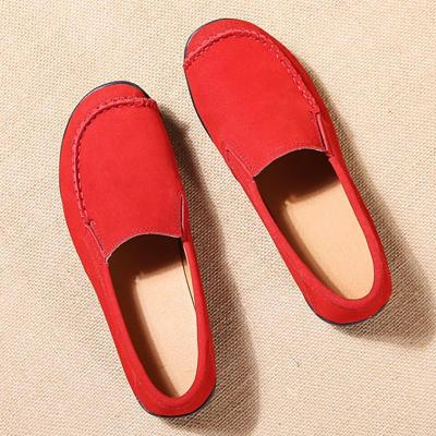 Women Nubuck Loafers Casual Slip On Plus Size Shoes