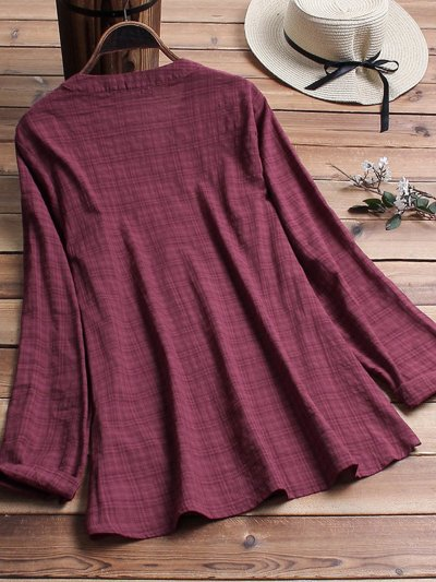 Buttoned Long Sleeve Shirts & Tops