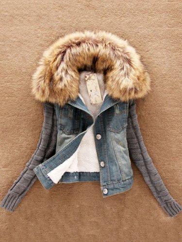 Paneled Casual Knitted Plus Size Jacket