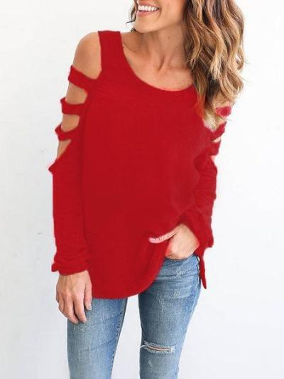 Black Cutout Solid Polyester Casual T-Shirt
