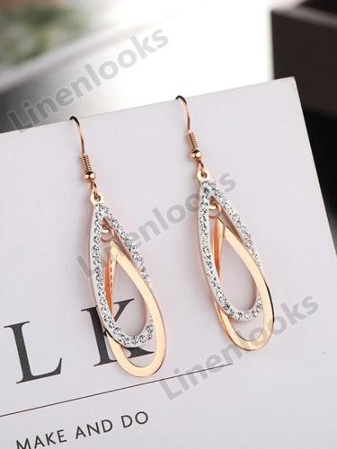 Drop Earrings Long Hook Chain Geometirc Rose Gold Color Women Earrings