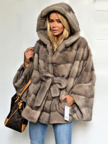 Faux Fur Solid Hoodie Parka Coat with Belt