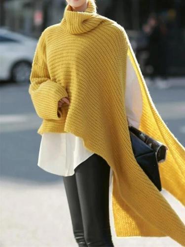 Fashion Pure Color High Neck Irregular Sweater