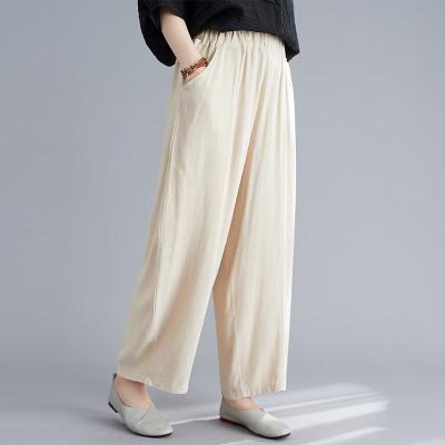 Women Harem Pants High Waist Pockets Trousers Casual Loose Cotton Linen Pants