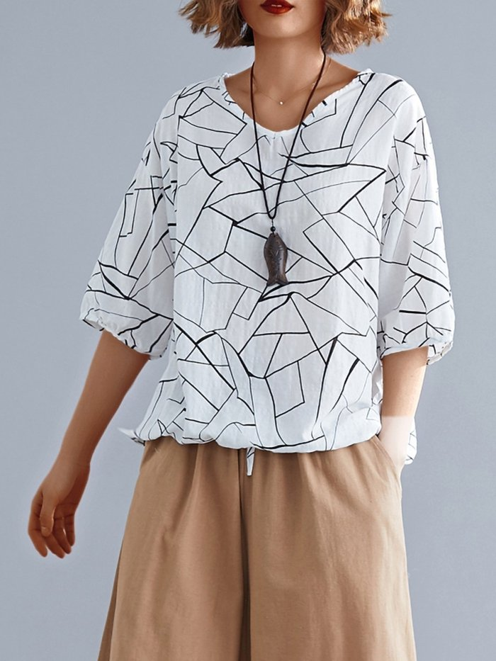 Simple Line Floral Short Sleeve Cotton And Linen Loose Casual Tops