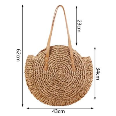 Women Fashion Big Round Shaped Straw Basket Handbag