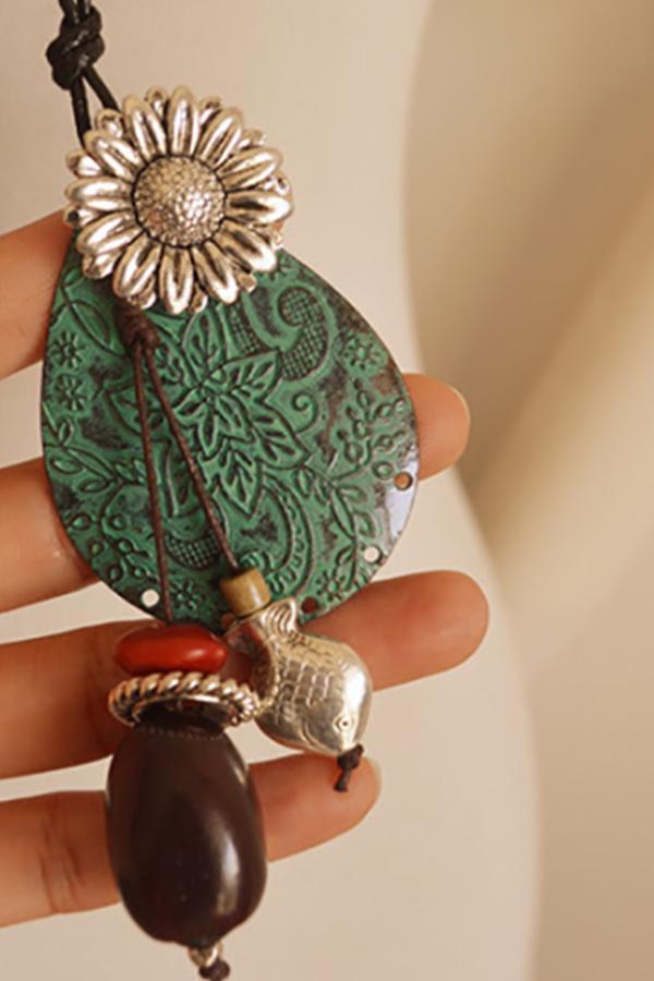 Fringed Chrysanthemum Drops Bodhi Silverfish Sweater Chain