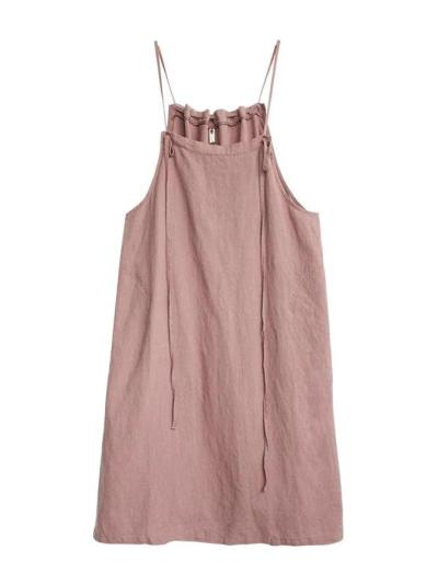 Pink Sleeveless Spaghetti Plain Dresses