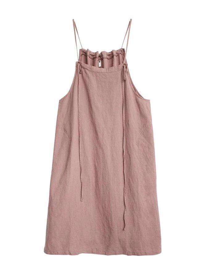 Pink Sleeveless Spaghetti Plain Dresses