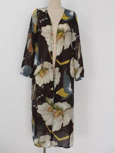 Women's Printed Casual Loose Long-sleeved Cardigans