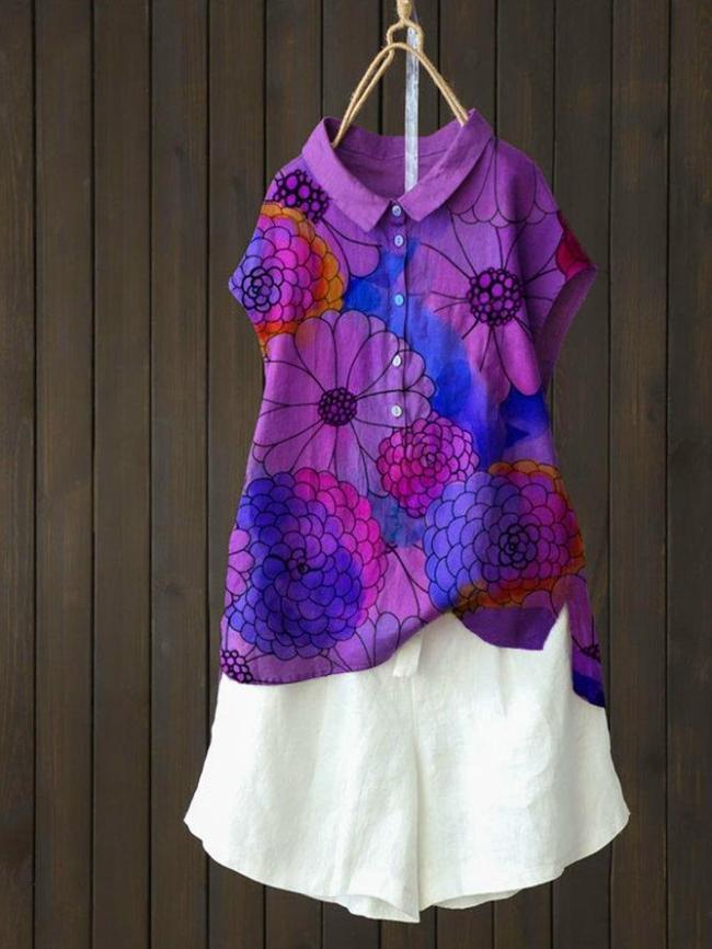 Violet Cotton-Blend Short Sleeve Shirts & Tops